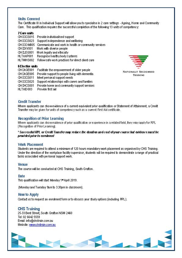 2019 Grafton Student Flyer for Cert III in IS 01.04.19 Page 2