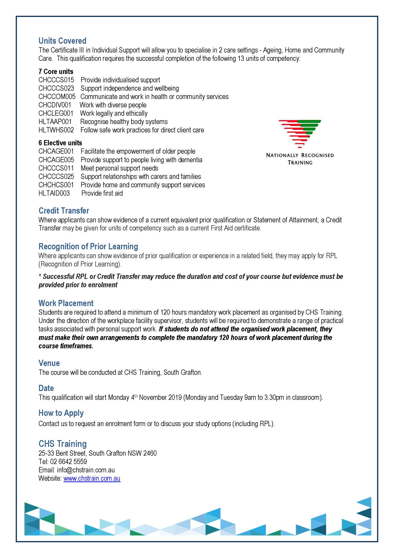 2019 Grafton Student Flyer for Cert III in IS 04.11.19 Page 2
