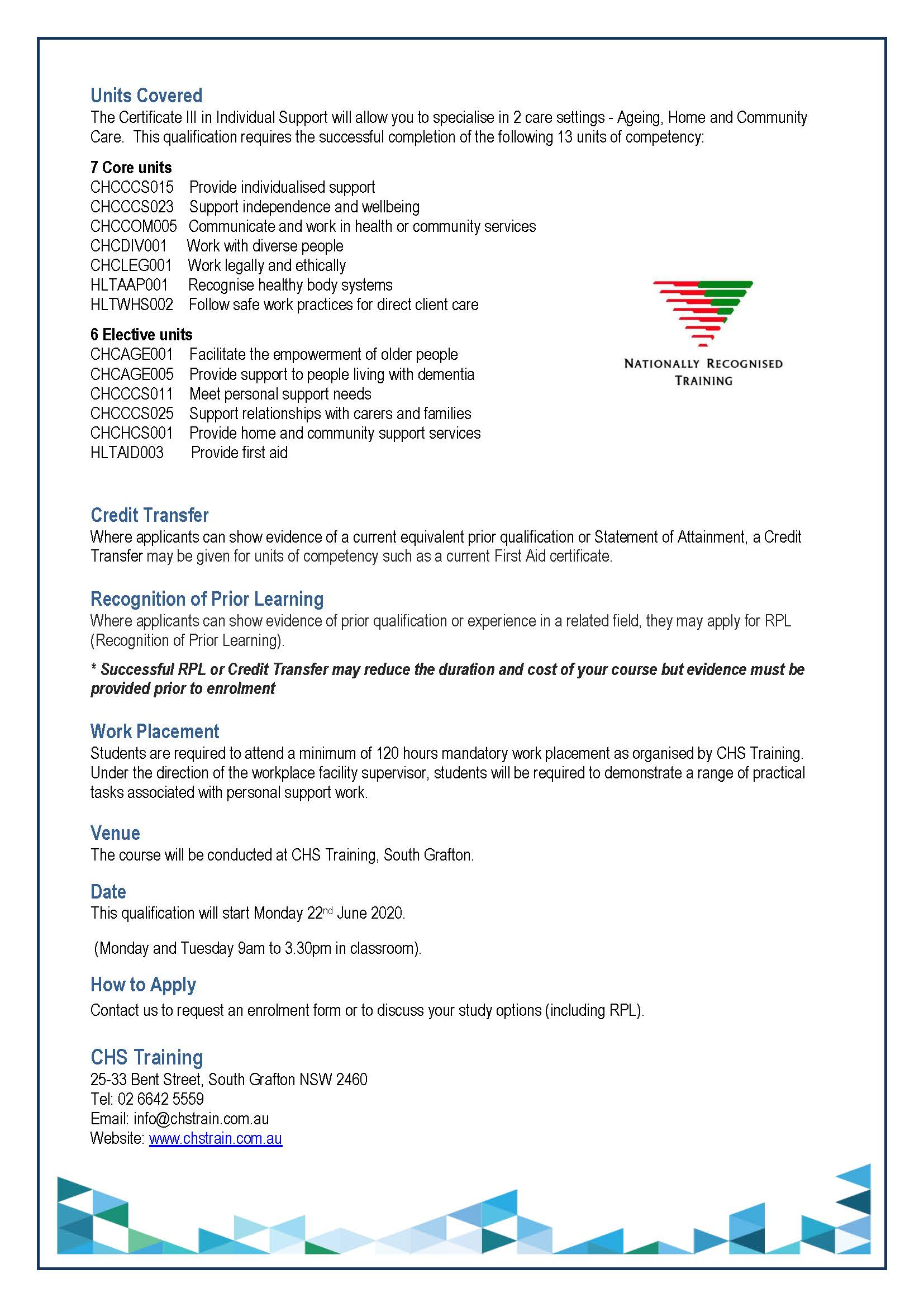 2020 Grafton Student Flyer for Cert III in IS 22.06.20 Page 2
